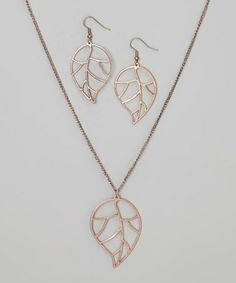 Look what I found on #zulily! Gold Open Leaf Pendant Necklace & Earring Set by LOLO by New Dimensions #zulilyfinds
