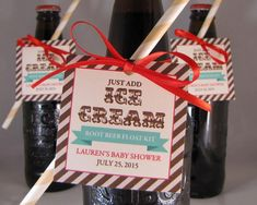 Just Add Ice Cream Tags for Party Favors.  Use to make a root beer float kit for your guests.  Just tie to bottles of root beer or soda! Perfect for showers or father's day too!  Printable, editable PDF file.