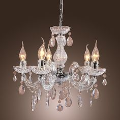 New Upligh Chrome Ceiling lamp 5 Candle light Acrylic Fixture Chandelier Pendant 340615 2017 – $52.79