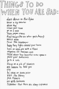 Things to do when you are sad