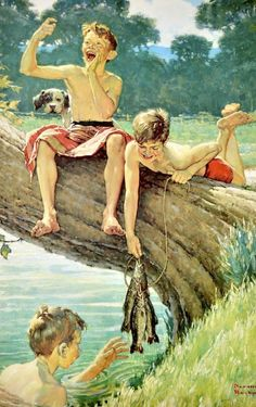Boys fishing, 1975 // by Norman Rockwell reminds me of me growing up living on a lake in Florida