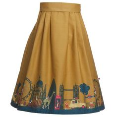Elspeth Mustard London Skirt ($120) ❤ liked on Polyvore featuring skirts, mustard yellow skirt, mustard skirt and brown skirt