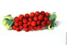 Купить Ободок из войлока Рябинка - рыжий, ободок для волос, ободок с ягодами, обруч для волос