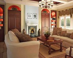 Home Design and Interior Design Gallery of Comfortable Design Kitchen With Fireplace And Living Room