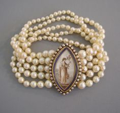belaquadros:    Pearl Bracelet with Miniature Painting  1830
