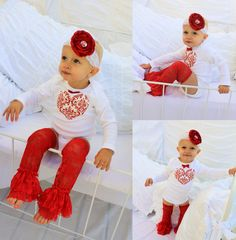 Baby Girl Valentine's Day Heart Onesie  Any by ChicCoutureBoutique, $15.50