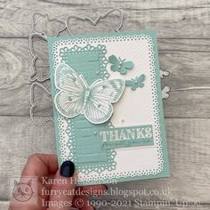 Furry Cat Designs - Karen Henderson - independent UK Stampin' Up! demonstrator: Ornate Butterfly Brilliance - International Project Highlights for April 2021 Send A Card, I Card, Thank You Cards, Wink Of Stella, Butterfly Cards, Cat Design, Beautiful Butterflies, Stamping Up, Papillons