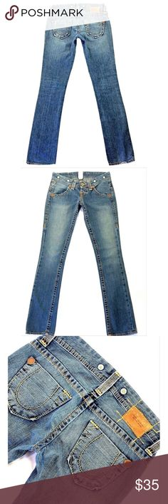 "TRUE RELIGION Ava Big T SZ 26 Straight Blue Jeans TRUE RELIGION ""Ava Big T""SZ 26 Reg*Straight Distressed Blue Jeans*Inseam 34"" True Religion Jeans Straight Leg"