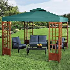 Wood Gazebos and Canopies | Beautiful 10x10' Gazebo Wood Trelis Green Canopy Top Fire/Rain Guard ...