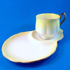 "Royal Albert Yellow ""Rainbow"" Tea Cup & Saucer Tennis Snack Set 