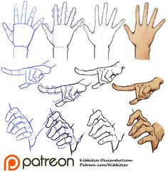Hands tutorial by Kibbitzer (More tutorials for hands and full body poses on the link) Hand Drawing Reference, Art Reference Poses, Tag Art, Drawing Anime Hands, Hands Tutorial, Poses References, Anime Poses, Drawing Techniques, Drawing People