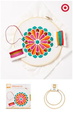 See your creativity bloom with this Mum's the Word Embroidery Kit from Hand Made Modern. Using the kit and bamboo embroidery hoops, it's easy to make DIY crafts like a pro, with no prior experience necessary.