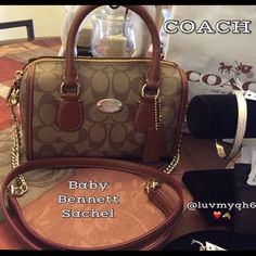 """HP12/24COACH Baby Bennett Sachel NWT This is such an adorable purse! It's a Baby Bennett Sachel!! Measures 8""""L x 3""""W x 5"""" so easy to carry by hand, handles have an approximate drop of 3"""", over the shoulder or as a cross body detachable strap drop of 21.5"""" or 41"""" in length. Made of quality crossgrain leather and signature canvas is two tone color Khacki /Saddle. The front features a gold plated Coach plaque. The Interior is lined in a brown satin fabric and has a zip pocket. This is a…"""