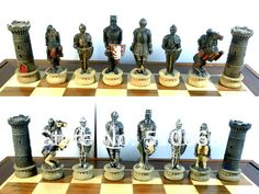 Medieval Knights  theme chess in inimitable design.made in resin,best gift for friend/chess pieces