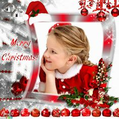 """Christmas in white"" frame. Click to replace the photo of the little girl with your own photo. This was made by the artist Alma50 using the free photo frame creator on www.imikimi.com.  #Christmas #Merry #red #white #santahat"