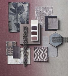 Heather Shades: Heathland colours, woven together with a hint of grey bring texture and richness to a winter scheme. Homes & Gardens, November 2014, Palette Moodboard, Photograph Ania Warrzkowicz, Styling Laura Vinden