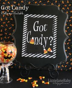 Free printable Got Candy? sign.  Fun to add to your Halloween decor