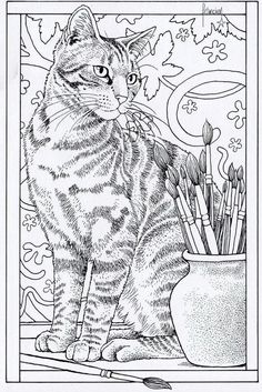 Adult Coloring Book Cat Lovely Cat Coloring Page Adult Coloring Pages, Cat Coloring Page, Animal Coloring Pages, Coloring Pages To Print, Colouring Pages, Printable Coloring Pages, Coloring Books, Colorful Drawings, Colorful Pictures