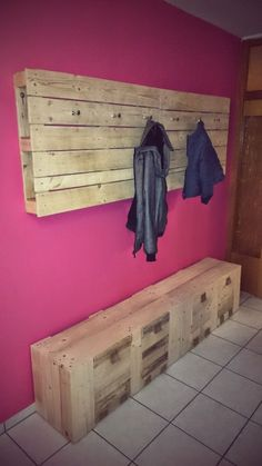 My new Pallet Wardrobe & Coat Rack