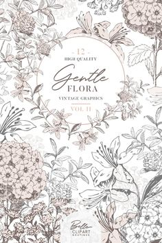 Vintage Botanical clipart - Two toned Floral clip art, grey and pink vintage sketches, flower graphics + BONUS watercolor texture Floral Illustrations, Botanical Illustration, Illustration Art, Flora Vintage, Vintage Floral, Vintage Clip, Etsy Vintage, Wreath Drawing, Flower Sketches