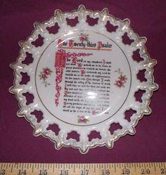 Lords Prayer Psalms 23 poem decorative pierced plate hanging china