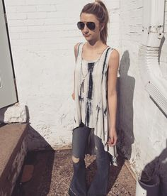 """Sunny Saturdays:: """"Shake Me Off"""" tie-dye top($46) + """"Let it Out"""" Flying Monkey flare($84) + Emily Kai tassle necklace($78)."""