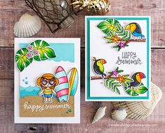 Pretty Pink Posh Blog Hop. Tropical Cards. Toucans, surfboards, leaves! Copic Coloring. Wanda Guess Pretty In Pink, Tropical Colors, Tropical Birds, Bee Cards, Happy Summer, Summer Beach, White Gel Pen, Mft Stamps, Ocean Themes