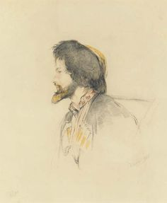 John Frederick Lewis,  - Description: Head of a banditti signed with initials and dated 'JF.L. 1838' (lower left) and with signature and date 'JF. Lewis 1838' (lower right) pencil, black and red chalk and ochre wash, unframed 10 1/2 x 8 3/4 in. (26.6 x 22.2 cm.) Notes: The present drawing was probably executed while Lewis was in Southern Italy in 1838. There is a strong resemblance to the artist himself and this drawing may be a self-portrait of Lewis dressed up as a banditti or hunter.