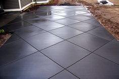 Black stamped concrete