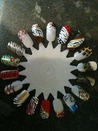 Animal print (zebra tiger cheetah leopard) nail art designs - luv the zebra with polka dots!