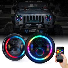 We carry a variety of styles of LED headlights for Jeep Wranglers, Hummers, and many other classic Cars and Trucks. Made with CREE LED chips. Jeep Jk, 2017 Jeep Wrangler, Jeep Truck, Jeep Wrangler Lights, Jeep Wrangler Colors, Jeep Wrangler Tires, White Jeep Wrangler, Jeep Wrangler Interior, Jeep Wrangler Sahara