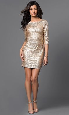 7efcc424a9f Image of Short Gold Sequin Long Sleeve Dress Style  RR-FDN12113i-717 Detail