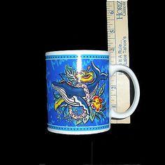 2002 Hilo Hattie Blue Hawaiian Coffee Cup Mug Maui Humpback Whale Hibiscus Reef | eBay