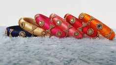 Items similar to Bracelets for women Indian Bangle set Bridesmaids gift Silk thread Bangles Stacking BOHO bracelet RED Bridal jewelry Blue Wedding bangles on Etsy Silk Thread Bangles Design, Silk Bangles, Silk Thread Earrings, Bridal Bangles, Thread Jewellery, Fabric Jewelry, Bridal Jewelry Sets, Indian Bangles, Bridal Shoes