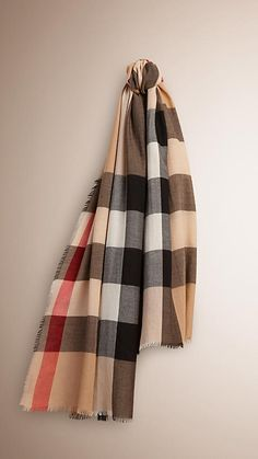Burberry Camel The Lightweight Cashmere Scarf in Check - The Lightweight Cashmere Scarf in check is made at a Scottish mill established in 1866. Crafted from hand-combed super-fine fibres, the fabric is washed in local spring water. Discover the scarves collection at Burberry.com