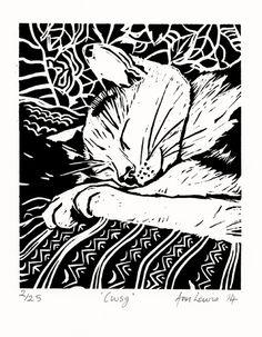 Linocut by Ann Lewis