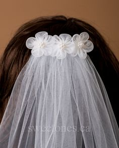Lot of 10 Bridal Scattered Pearl Veil White 1Tier Veil No Comb 1st Communion DIY