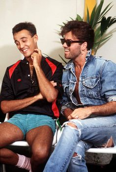 GEORGE MICHAEL ET ANDREW RIDGELEYANDREW RIDGELEY ET GEORGE MICHAEL  DU GROUPE WHAM, LONDRES, WEMBLEY 1986.