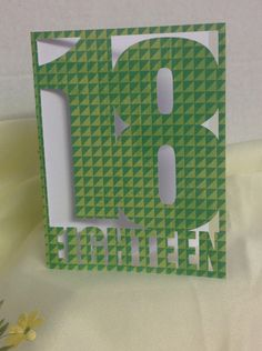 Happy Birthday 16th Card, green, friend , family , FREE CONFETTI , Paper Cut , Teens by PatchyPeanut on Etsy