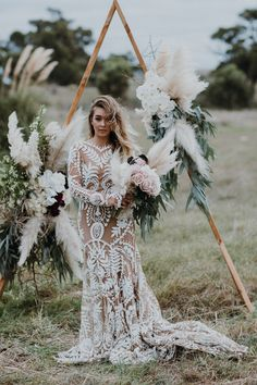 Little Love Story Triangle wedding arch / Peggy Saas Wedding Photographer / Rue De Seine Avril Gown for the Boho Bride / Botanica Naturalis pampas bouquet Boho Wedding Gown, Boho Bride, Chic Wedding, Dream Wedding, Wedding Dresses, Grunge Wedding, Boho Gown, Wedding Reception, Lace Wedding