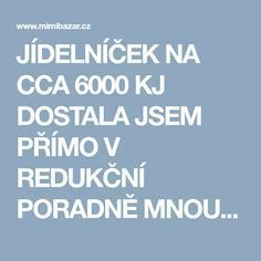 JÍDELNÍČEK NA CCA 6000 KJ DOSTALA JSEM PŘÍMO V REDUKČNÍ PORADNĚ MNOU UPRAVENÝ | Mimibazar.cz Food Hacks, Food Tips, Health And Beauty, Detox, Health Fitness, Food And Drink, Low Carb, Healthy Recipes, Healthy Food