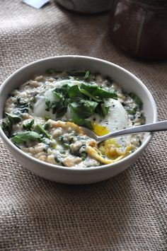 savory oatmeal recipe with eggs & spinach. Delicious!!! I make this often! I toss in feta, tomatoes, basil, etc. So filling, too.