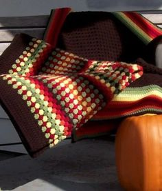 Autumn Medley Crochet Granny Afghan | F A L L in love with the warm color scheme of this soft granny square afghan.