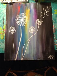 Modern Dandelion Acrylic Painting on Etsy, $30.00