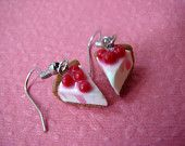 Strawberry Cake Earrings with Vanilla Icing - Polymer Clay Food Jewelry.
