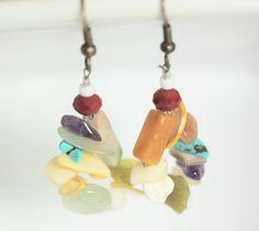 Jumble Beaded Loop Dangle Earrings by ScoSiCa, $17.00