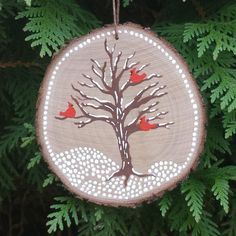 Winter Birds Wood Slice Ornament Bird Ornament by myArtHasWings