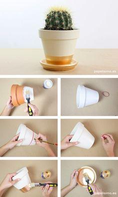 Como pintar macetas de-barro rayas how to paint pots                                                                                                                                                     Más