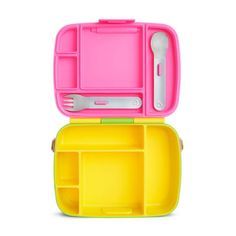 Munchkin Bento Box Yellow/Pink — Oh Baby! Toddler Lunch Box, Toddler Lunches, Bento Box Lunch, Lunch Snacks, Stainless Steel Utensils, Healthy School Lunches, Kids Meals, Bag Accessories, Yellow