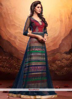Fab Multicolored Net Anarkali Salwar Suit